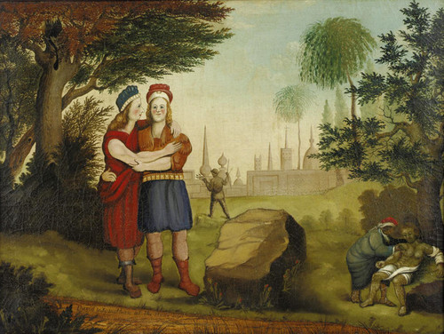 Art Prints of Jonathan and David at the Stone Ezel by Edward Hicks