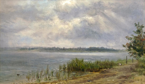 Art Prints of Lake Landscape as the Sun is Breaking Through by Edward Lamson Henry