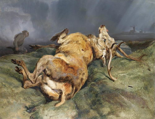 Art Prints of A Deer Just Shot by Edwin Henry Landseer