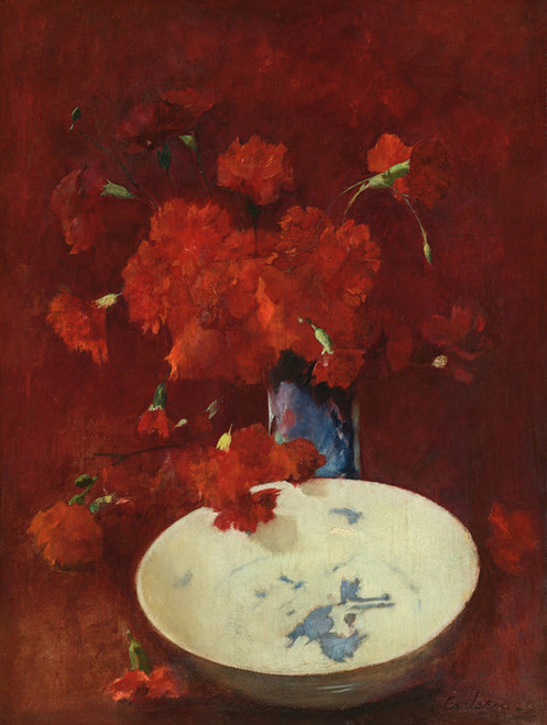Art Prints of Red Carnations and Delft by Emil Carlsen