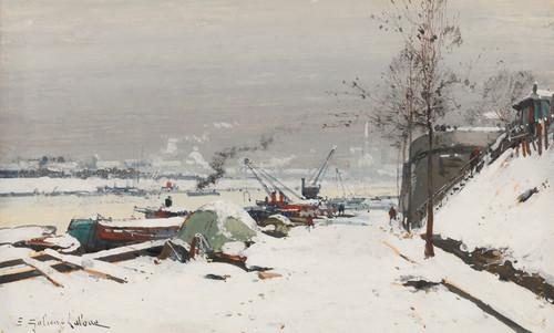 Art Prints of Bercy Dock in Snow by Eugene Galien-Laloue