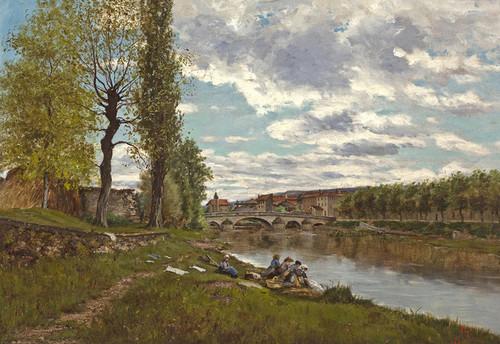 Art Prints of Lavandieres au Bord de Loing by Eugene Galien-Laloue