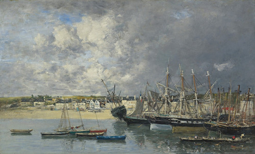 Art Prints of Boats at Anchor in the Harbor, Portrieux by Eugene Boudin