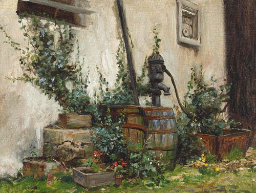 Art Prints of Cottage Wall with Water Pump by Frank Moss Bennett