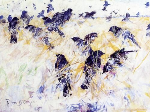 Art Prints of Blackbirds in Rushes by Frank Weston Benson