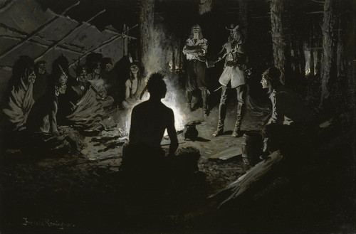 Art Prints of French Explorers Council with the Indians by Frederic Remington