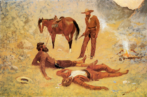 Art Prints of He Lay Where He Had Been Jerked Still As A Log by Frederic Remington