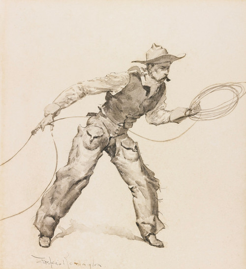 Art Prints of Snapping a Rope on a Horse's Foot by Frederic Remington