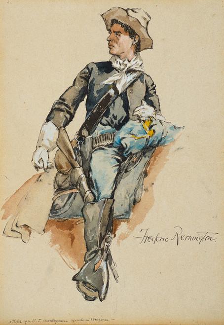Art Prints of Sketch of a U.S. Cavalryman, made in Arizona by Frederic Remington