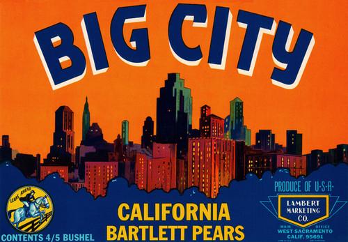 Art Prints of 023 Big City Bartlett Pears, Fruit Crate Labels