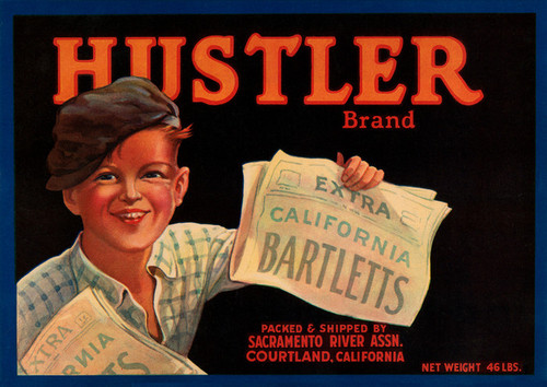 Art Prints of 026 Hustler brand Bartletts Pears, Fruit Crate Labels