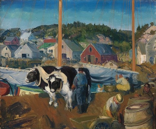 Art Prints of |Art Prints of Ox Team, Wharf at Matinicus by George Bellows