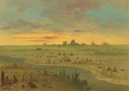 Art Prints of Encampment of Pawnee Indians at Sunset by George Catlin