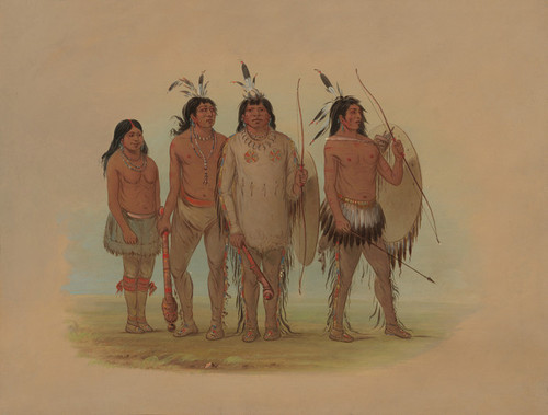 Art Prints of Kiowa Chief His Wife and Two Warriors by George Catlin