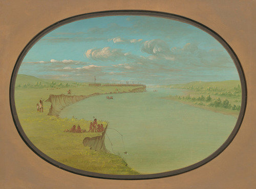 Art Prints of Mandan, a Distant Village by George Catlin