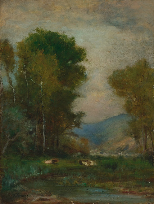 Art Prints of Cows by a Stream by George Inness