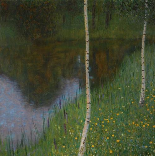 Art Prints of Lakeshore with Birches by Gustav Klimt