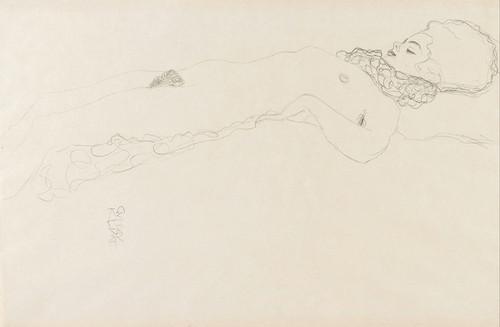 Art Prints of Naked Girl with Ruff Lying by Gustav Klimt