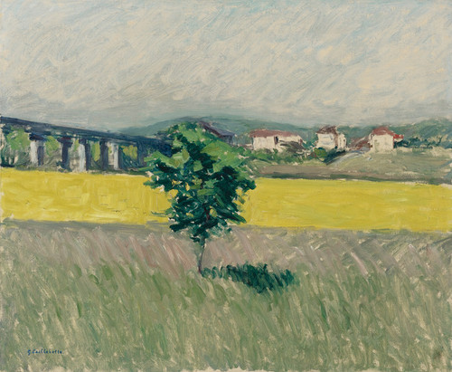 Art Prints of Prairie at the bridge, Argenteuil by Gustave Caillebotte