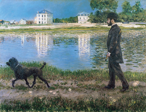 Art Prints of Richard Gallo and Dog at Petit Gennevilliers by Gustave Caillebotte