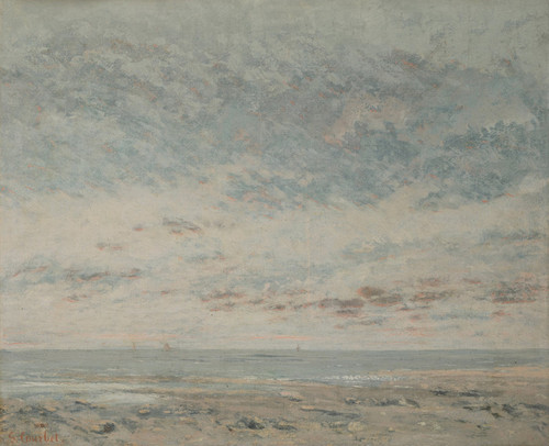 Art Prints of Low Tide at Trouville by Gustave Courbet