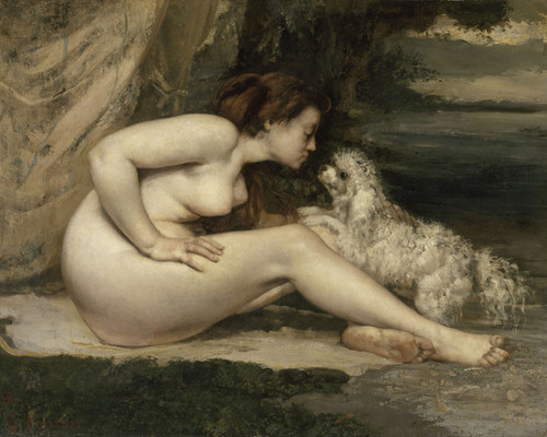 Art Prints of Nude Woman with a Dog by Gustave Courbet