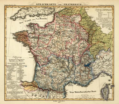 Art Prints of Sprachkarte von Frankreich, 1847 (2515074) by Heinrich Berghaus