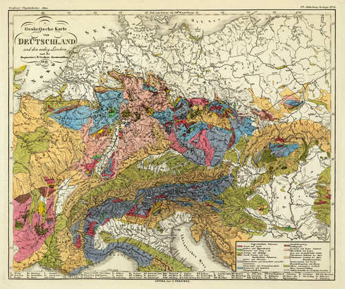 Art Prints of Geological Map of Germany, 1843 (2515039) by Heinrich Berghaus