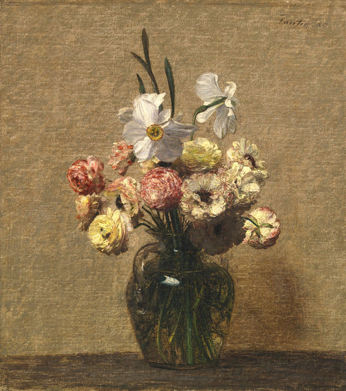 Art Prints of Ranunculus and Narcisses by Henri Fantin-Latour