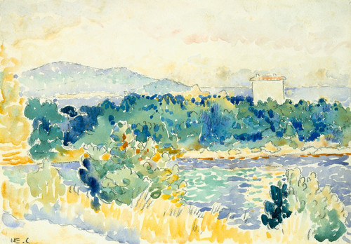 Art Prints of Mediterranean Landscape with White House by Henri-Edmond Cross