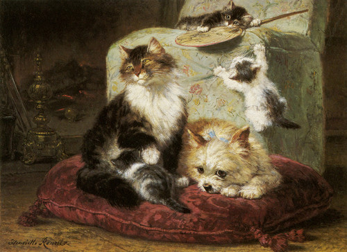 Art Prints of Cat, Kittens and Toy Terrier on a Red Cushion by Henriette Ronner Knip