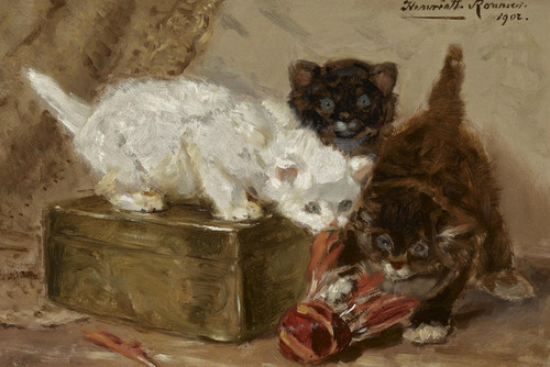 Art Prints of Kittens Playing with a Shuttle by Henriette Ronner Knip