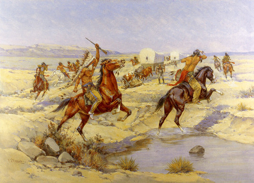 Art Prints of Attack on the Wagon Train by Herman Wendelborg Hansen