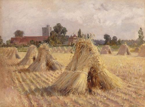 Art Prints of Corn Stooks by Bray Church by Heywood Hardy