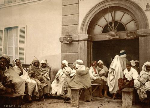 Art Prints of Arabs at a Cafe, Algiers, Algeria (387096)