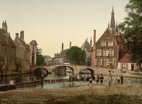 Art Prints of Convent Bridge and the Spire of Notre Dame, Bruges, Belgium (387157)