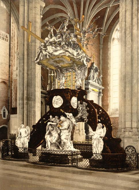 Art Prints of St. Bavon Abbey, Pulpit, Ghent, Belgium (387199)