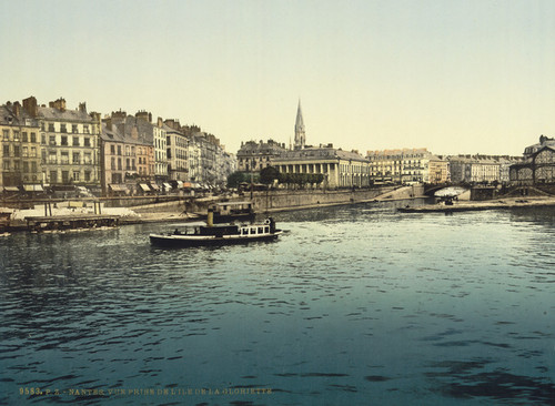 Art Prints of Panorama and Bourse from or Gloriette, Nantes, France (387389)