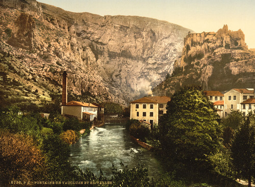 Art Prints of Fountain and Valley of Vauclause, Orange, Provence, France (387505)