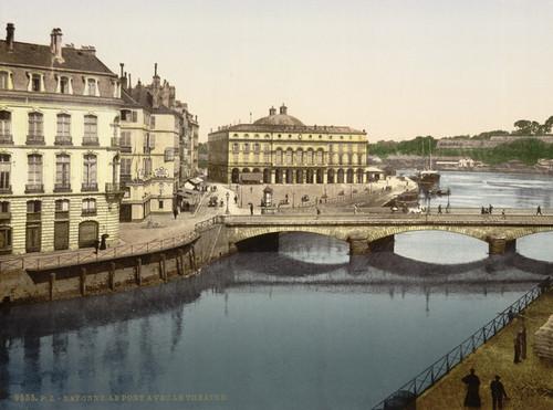 Art Prints of Bridge Bayonne, Pyrenees, France (387514)
