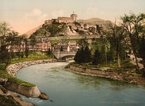 Art Prints of Castle and River Lourdes, Pyrenees, France (387550)