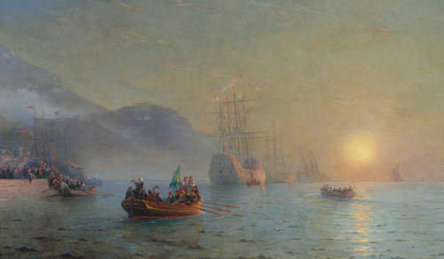 Art Prints of Columbus Sailing from the Palos by Ivan Konstantinovich Aivazovsky