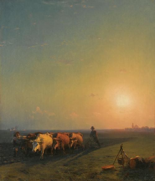 Art Prints of Ploughing the Fields Crimea by Ivan Konstantinovich Aivazovsky