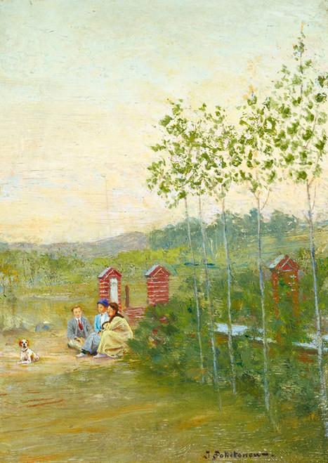 Art Prints of Family Scene at La Panne by Ivan Pavlovich Pokhitonov