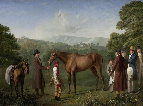 Art Prints of Bay Racehorse and a Trainer in an Landscape by Jacques-Laurent Agasse