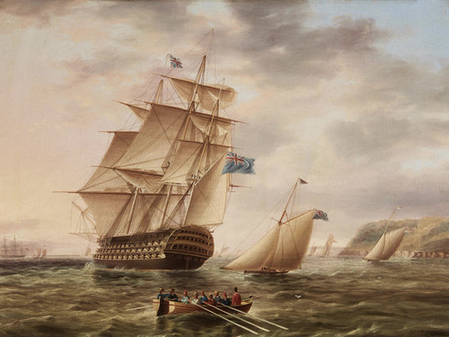 Art Prints of British Ship of the Blue Fleet Sailing by James Edward Buttersworth