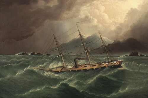 Art Prints of Packet Ship in a Storm, Tierra del Fuego by James Edward Buttersworth