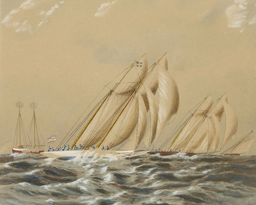 Art Prints of Schooners Rounding Sandy Hook Lightship by James Edward Buttersworth