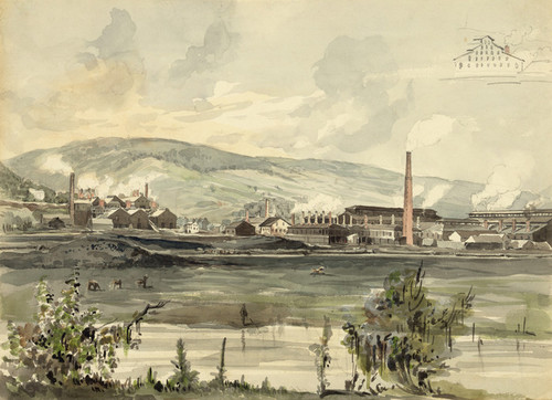 Art Prints of River View with Factory, Pennsylvania (22824L) by James Fuller Queen