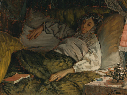 Art Prints of A Reclining Lady by James-Jacques-Joseph Tissot